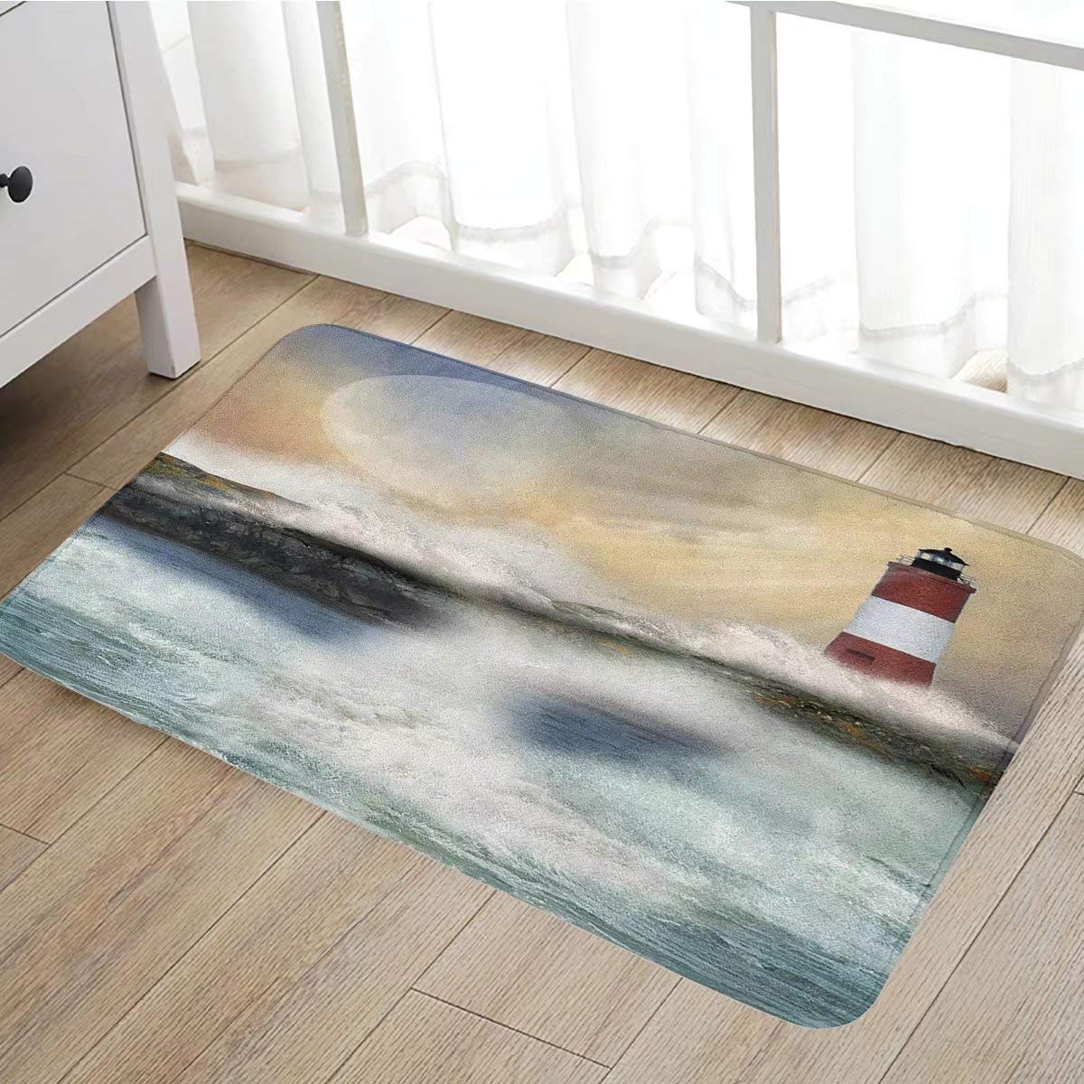 beautiful Lighthouse Bath Mats Part - 13: Get Quotations · Lighthouse bath mats for bathroom Oil Painting Style  Artwork of Stormy Sea Splashing Waves Moon and