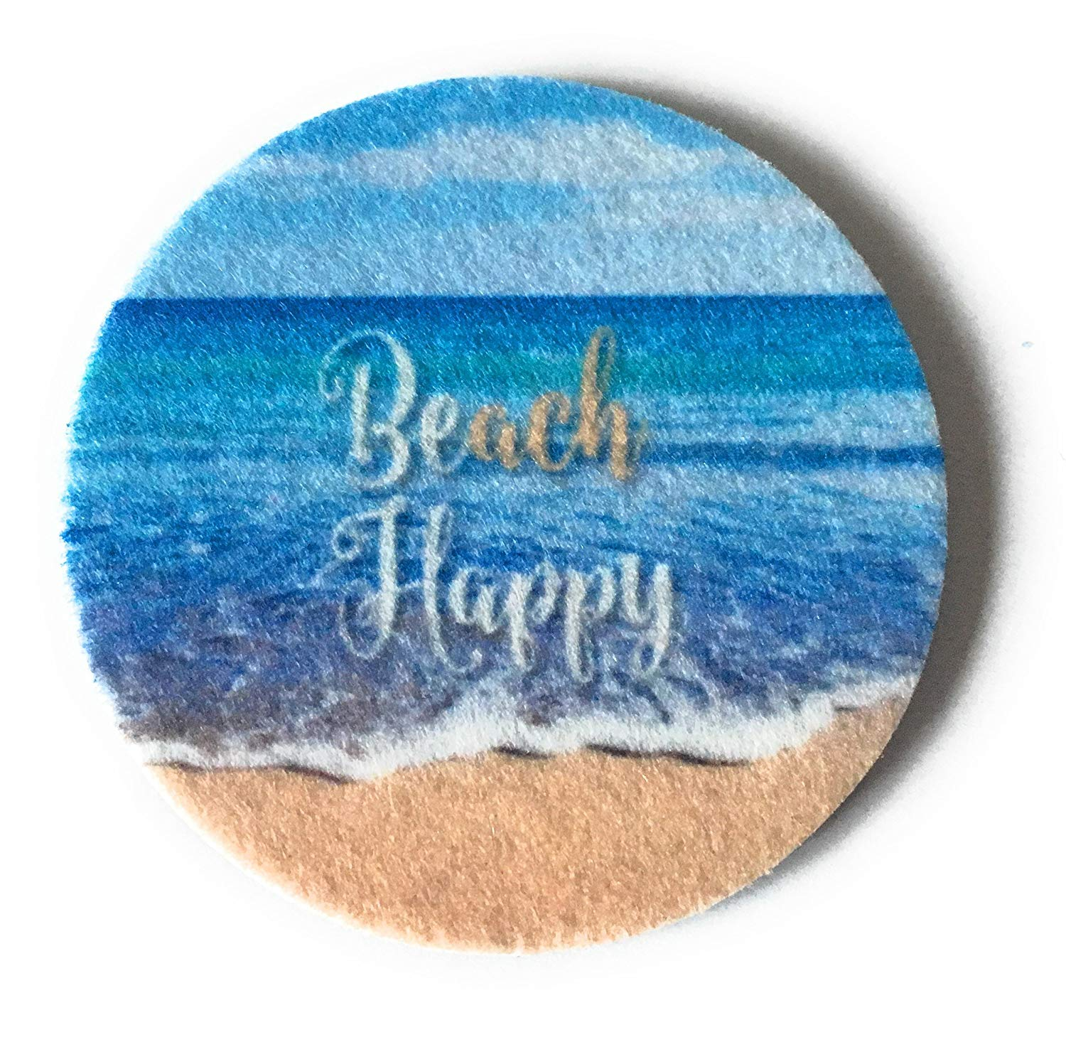 Beach Happy Car Coasters - Set of two super absorbent car coasters for your cars cup holder - Beach Cup Holder Coasters