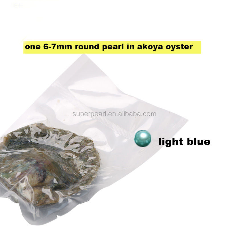 light blue 6-7mm round pearl in akoya oyster wholesale