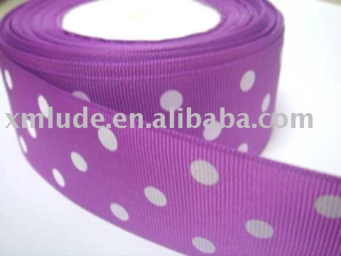 white dots printed purple grosgrain ribbon