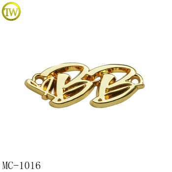 Zinc alloy 2 holes sewing metal letter tag golden garment metal letters logo for shawl