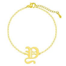 Старый Английский алфавит E письмо браслет для женщин из нержавеющей стали Многоцветный шрифт капитал A-Z начальный браслет подарок(Китай)