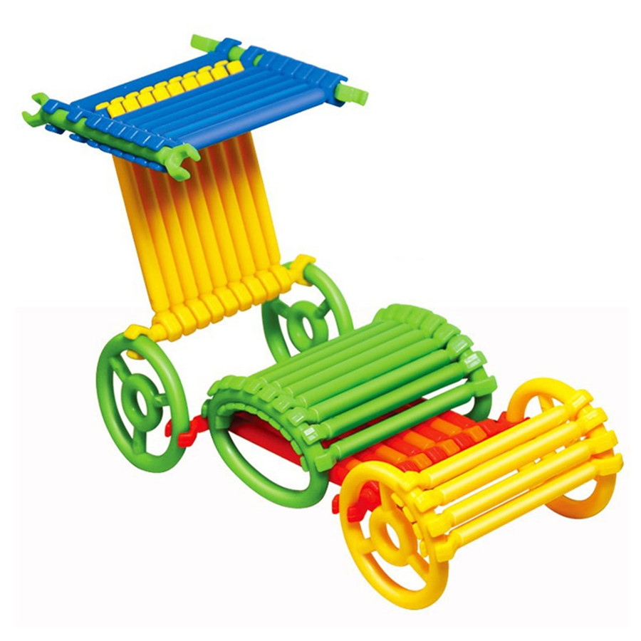 120 Piece set Ring Stick Tube Pipe Changeable Building Blocks Construction Assembly Educational Toy for Baby