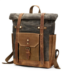 Dreamtop DTB005 best selling unisex gender travel laptop backpack roll top mens vintage waxed canvas backpack royal