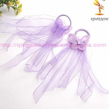 Girls Hair Rubber Band Purple Elastic Hair Band Butterfly Baby Hair Band 5cf38d952a4
