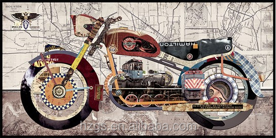 Metal Wall Art 3D Relief Sculpture Motorbike Print Picture for Interior Decoration