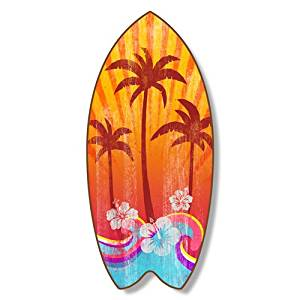 """Wood Surfboard Plaque Palm Trees 18x7.5"""""""