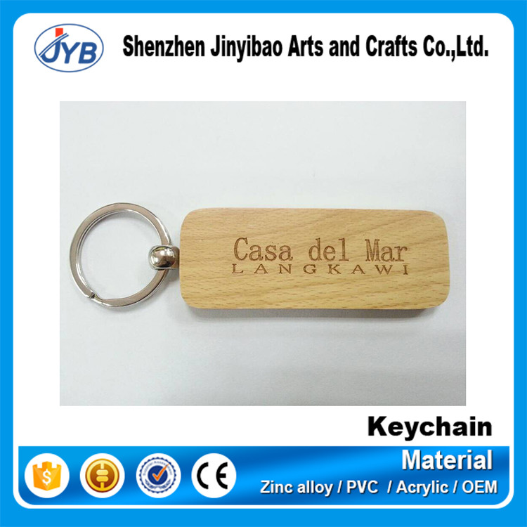 Fast sale custom wooden engraved logo keychain key tag for wholesale