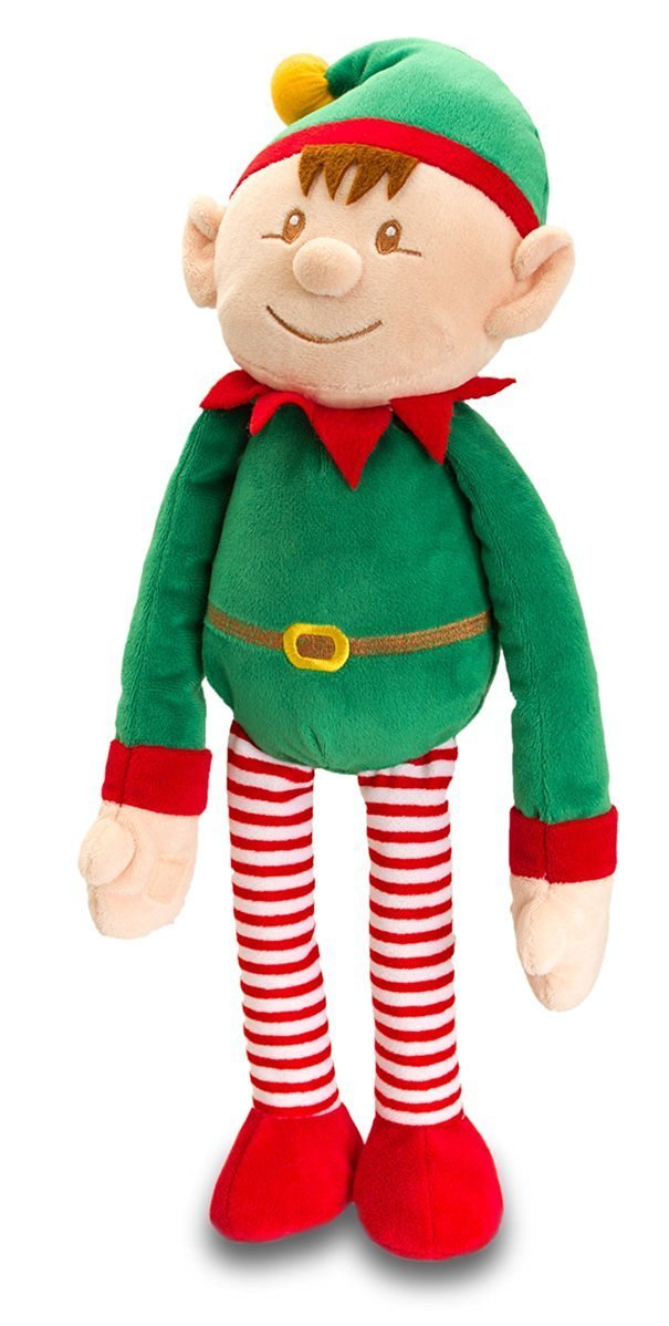 35cm Elf Plush Soft Toy Dressed In Green & Red With Rattle - Christmas Stocking Fillers