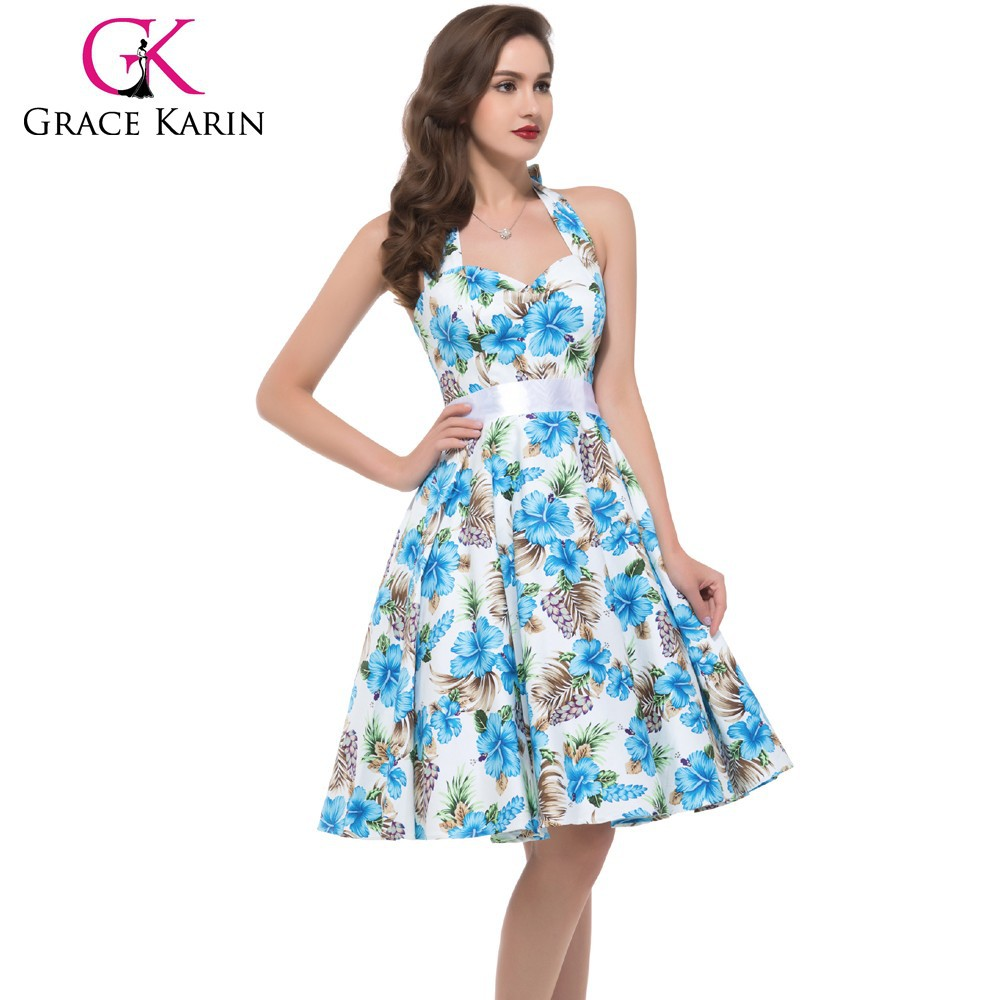 Grace Karin Sexy Halter Cotton Cheap Women 50s Vintage Retro Style Pinup Dress CL6075-9#
