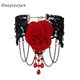 custom Women Fashion Pendant Jewelry Ruby Chain Floral Fabric Rose Choker Necklace