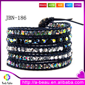Pulseiras Masulions 2014 Newest Vintage Multilayer Multi-colored Crystal Handmade Woven LuLu Wrap Bracelet