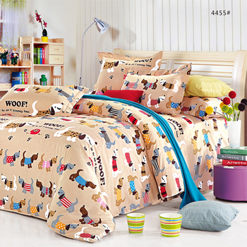 bed sheets for kids. Cute Dogs Printed Kids Cotton Bed Sheets With Duvet Cover For G