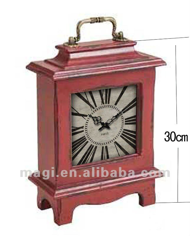 European Classic Old Wrought Iron Clock Ornaments Square Wooden Red Digital Table Clock