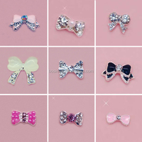 Cute Lady Pink Crystal Bow Nail Charm Nail Art Decorations Glitters Nail Charm Wholesale