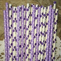 25 Pcs white with big purple dots Paper Straws Purple Small Polka Dot Drinking Straw For Wedding Party Birthday Decoration