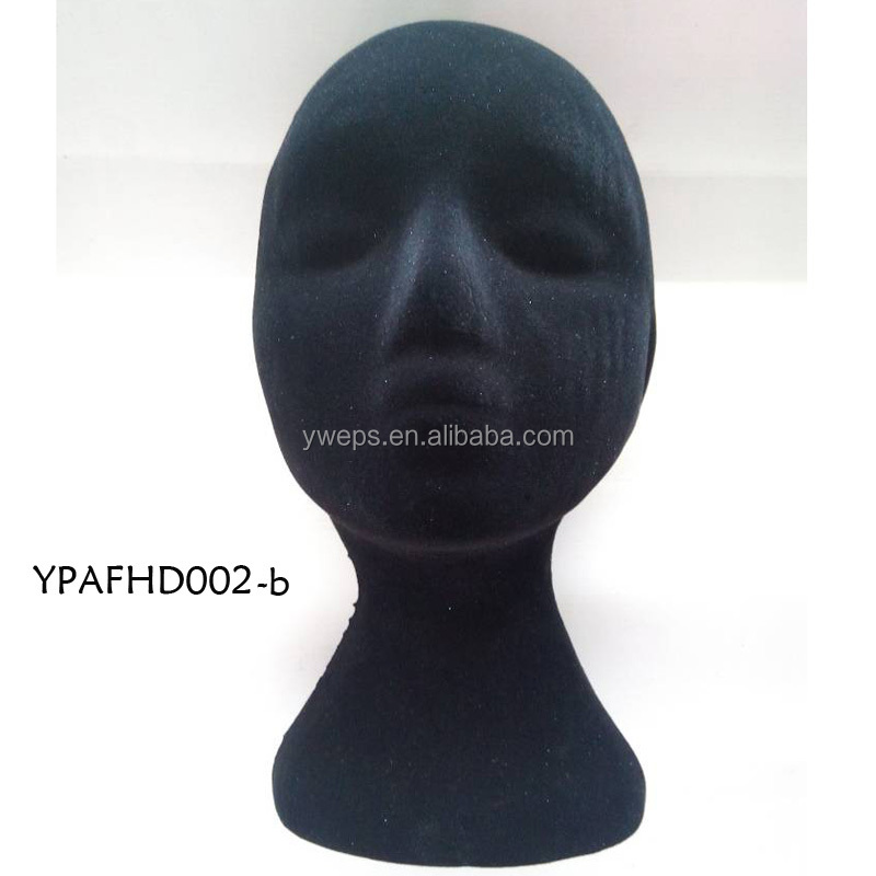 Yipai black mannequin polystyrene heads ,display model head