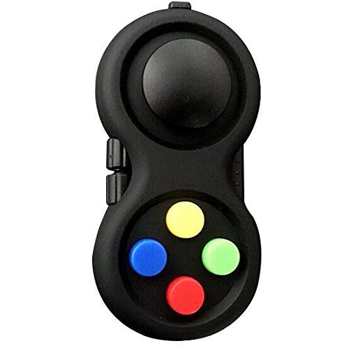 Fidget Pad-Fidget Cube,Relieves Stress and Anxiety Relax for Children and Adults,Multi Color Rainbow on Black