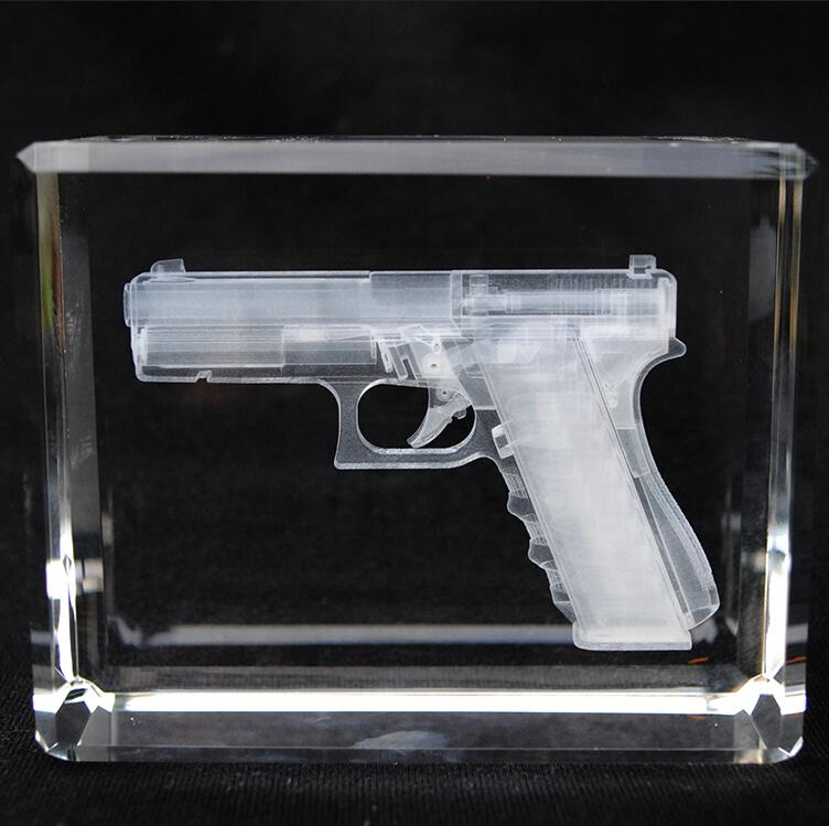 k9 crystal Glass Ornaments Paperweight gun model cut 3d laser etched photo Crystal Cube soldier Veterans souvenir gift