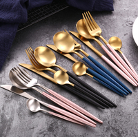 Portuguese Style Matte Pink Blue Cutlery Black Gold White Plated Flatware Set