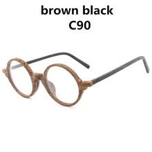 AZB Ретро деревянная оправа для очков, круглые оптические оправы для очков, мужская и женская деревянная оправа для чтения с прозрачными линз...(Китай)