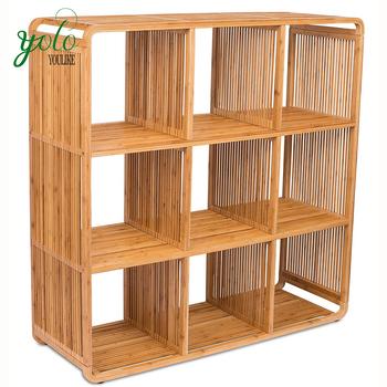 9 Cube Bamboo Storage Cabinet Shelf