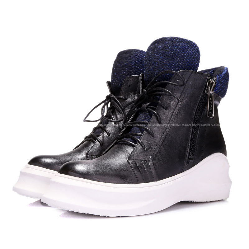 New Arrival 2015 High Top Sneakers High Quality Shoes Women Genuine Leather Woman Height Increasing Wedge Sneakers Drop Shipping