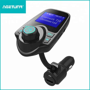 AGETUNR T10 BT V4.2 mp3 player screen fm transmitter display car voltage, AUX, microSD card, DC 5V2.1A charging-Ice Blue light