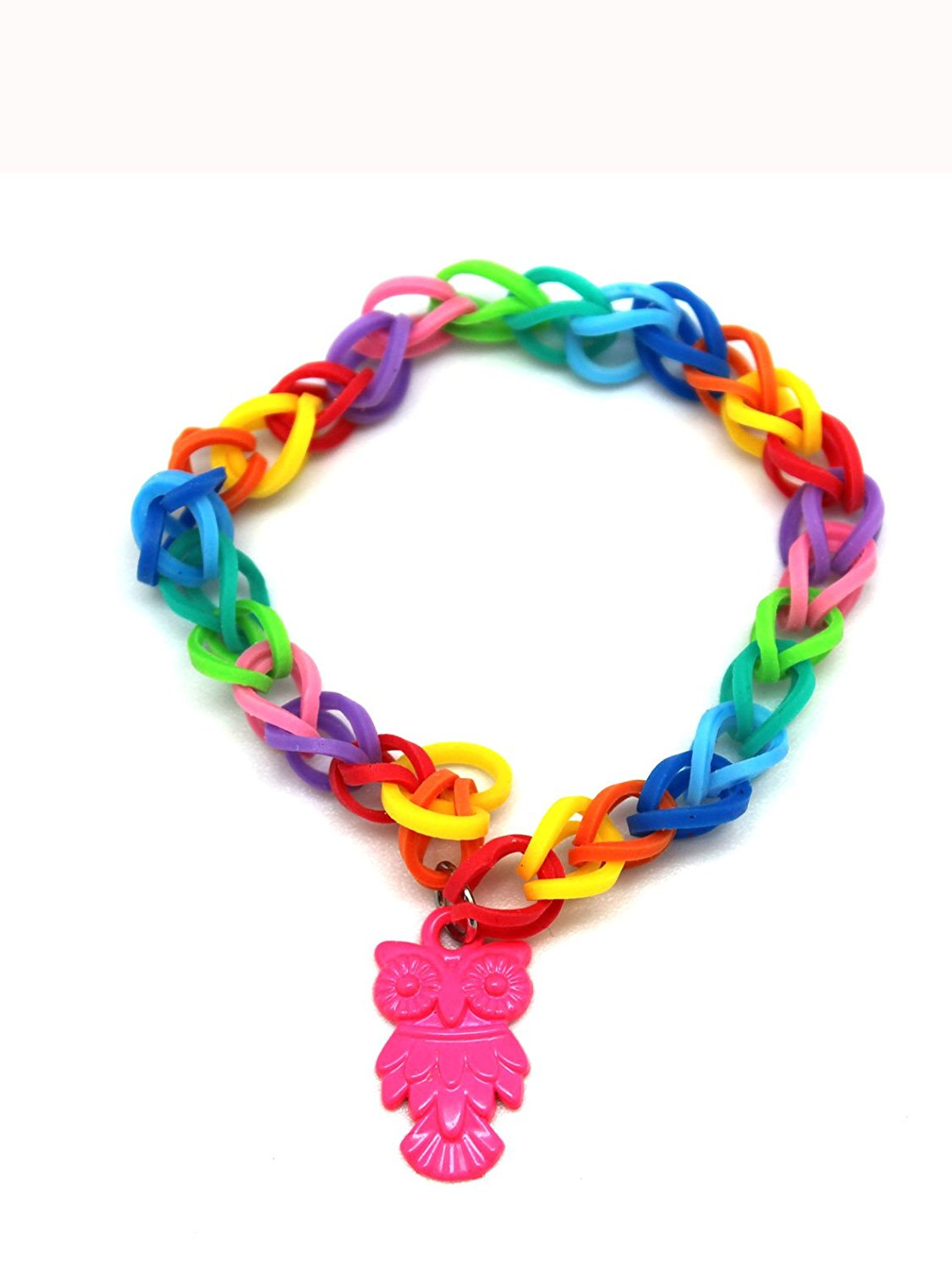 Pink Owl Charm With Rainbow Loom Rubber Band Bracelet