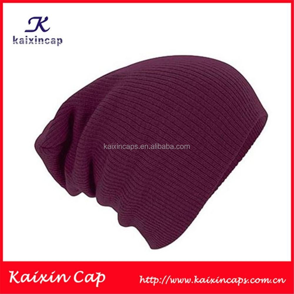 2015 Comfortable Custom Blank Plain Long Acrylic Beanie/Long Knitted Hat/Cap/Long Model Winter Knitted Caps