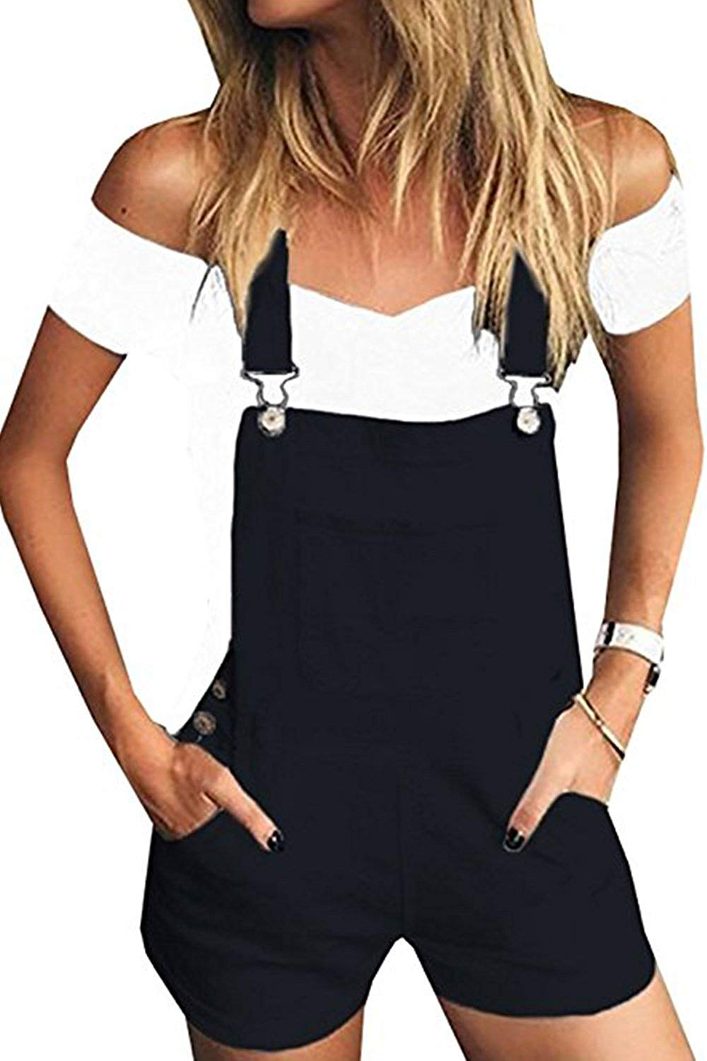 JeanewPole1 Womens Distressed Denim Bib Short Jumpsuits Casual Shortalls Overalls with Pockets