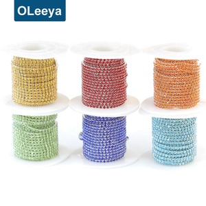 Hot sale wholesale price over 20 colors ss6 2mm fancy rhinestone chain trim rhinestone chains for shoes boots decoration