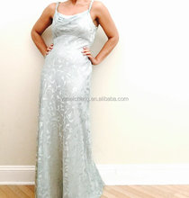 Top quality satin printed women long dress with backless hup classy evening dress prom