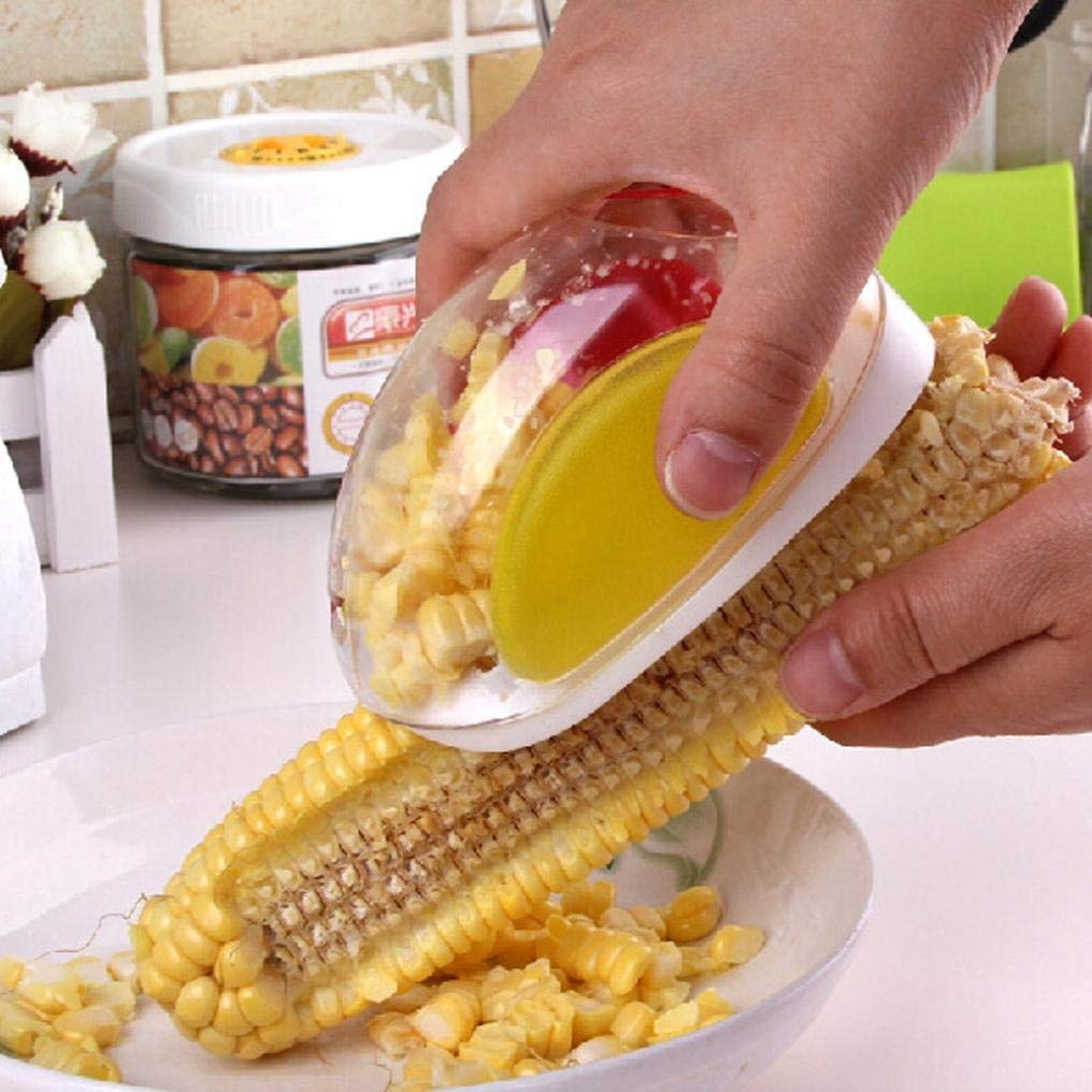 Corn Slicer Peeler Thresher Cutter Remover Corn on the Cobb Holders Corn Shucker Kitchen Cooking Tools,Easy to Operate and Clean, Reusable and Durable Gessppo