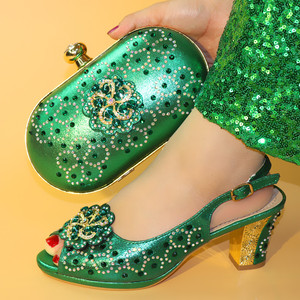 Green Italian Shoes and Bags To Match Shoes with Bag Set Nigerian Shoes and Matching Bag African Wedding Shoe Bag Sets