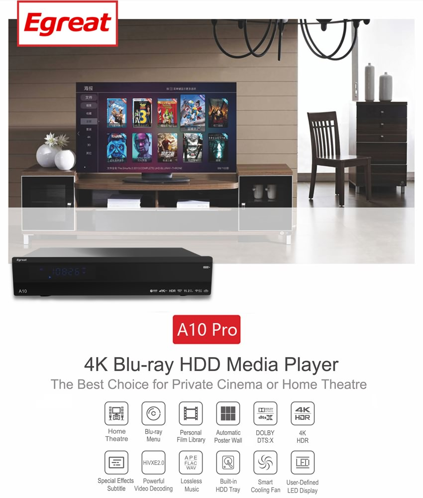 2019 New Arriving Egreat A10pro 4k 3d Bd Blu-ray Hard Disk Drive Video  Player Hdd Hdr10 10bit Deep Color With Bd/dvd Menu - Buy Hard Disk Drive
