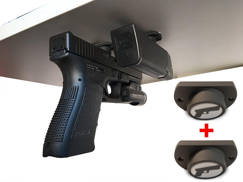 2-Pack | Gun Magnet w/ Adhesive Backing | Car Holster | Bedside Holster | Steering Wheel Gun Holster | Under The Desk Pistol Holster | Gun Holsters For Cars | Vehicle Gun Mount | Pistol Holster In Car