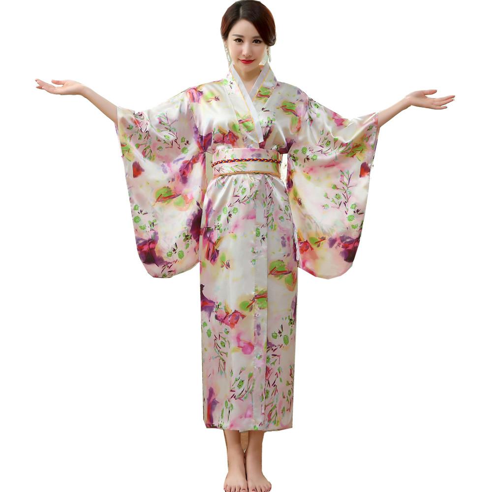 fde0b21d16f9 2019 Wholesale Japanese Silk Robes Women Bathrobes Long Dressing ...