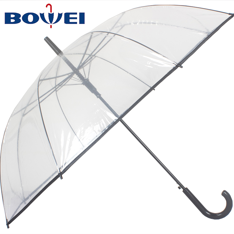 2019 Hot selling high quality wholesale automatic vinyl transparent clear umbrella