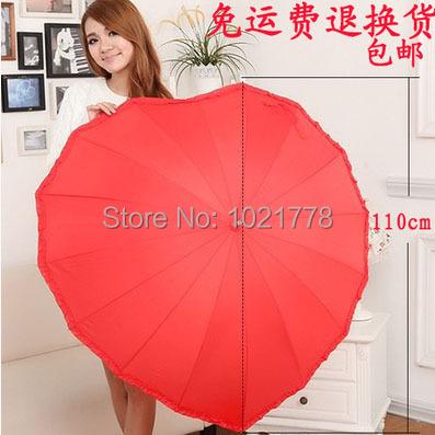 Бесплатная доставка красное в форме сердца зонт лучшего для свадьбы и любителей анти-уф палкой форме сердца с ручкой зонт