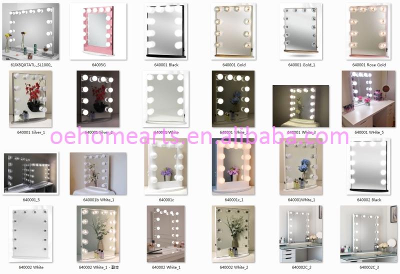 Espejos de maquillaje plegable de escritorio recargable led de espejo de vanidad con luces
