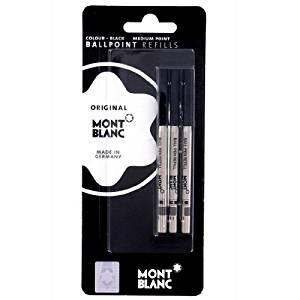 Mont Blanc Set of 3 Ballpoint Refill Medium Mystery Black