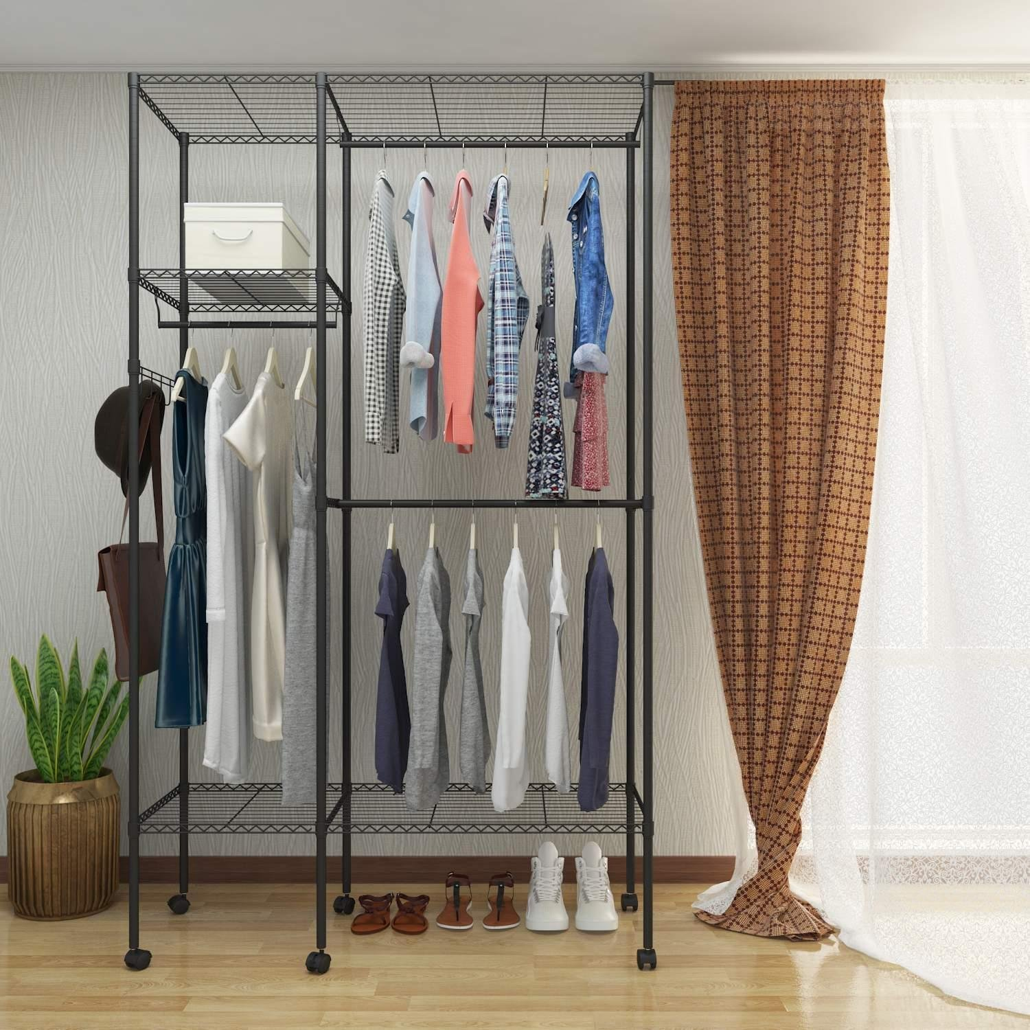 Get Quotations · Utheing Wire Clothes Rack Closet Organizer Shelf Garment  Rack, Rolling Hanging Metal Heavy Duty Clothes