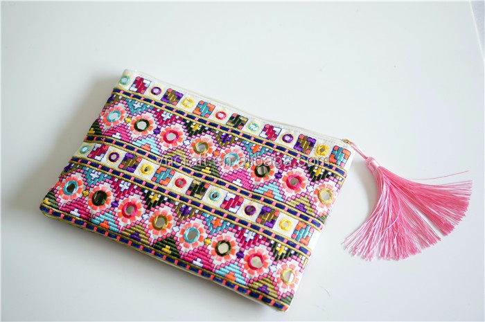 Colorful embroidery tote clutch with mirrors/ ethnic embroidery women handbag with tassels