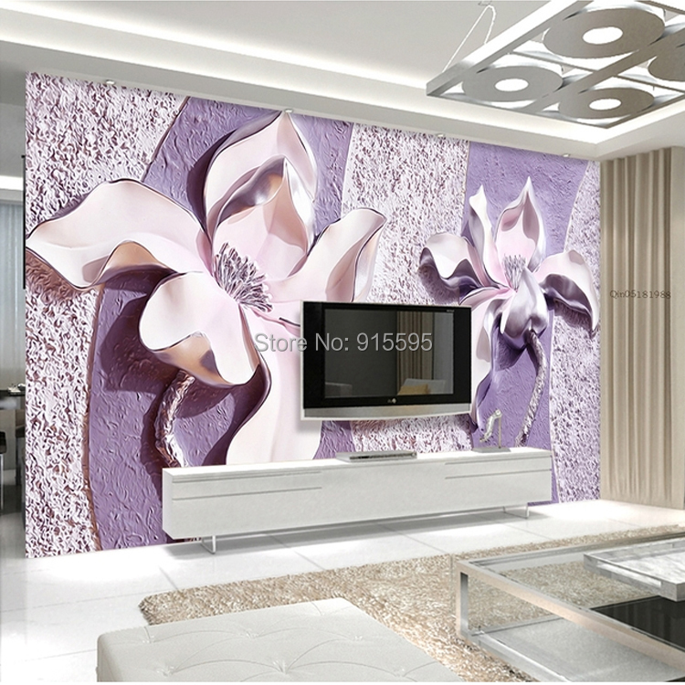 Wholesale Customize Any Size 3d Relief Purple Magnolia Bedroom Tv Background Wall Paper Home Decor Living Room Non Woven Mural Wallpaper Pc Widescreen