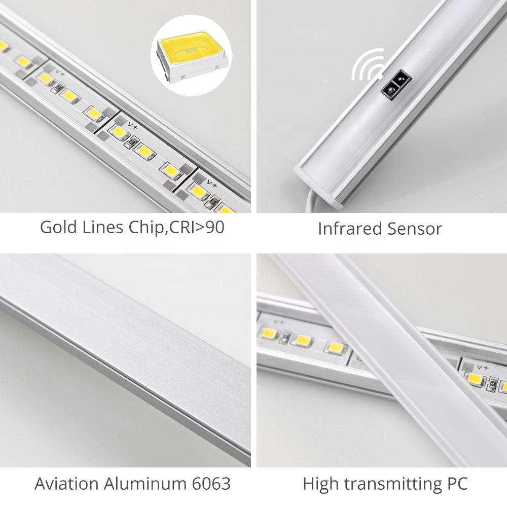 Professional 4w 12VDC 30cm Surface Mounted Motion Sensor Round Mini Pir Led Cabinet Under Closet Shelf Kitchen Puck Lighting