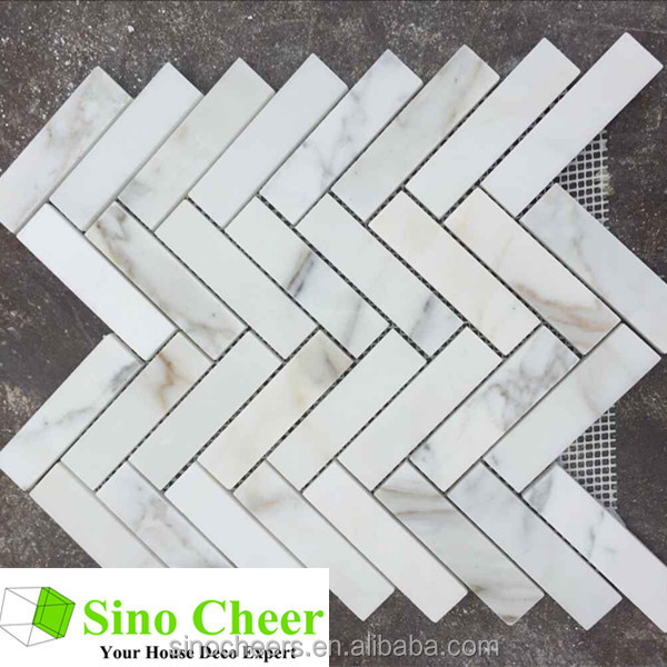 The herringbone mosaic tile calacatta gold mosaic tile and marble mosaic