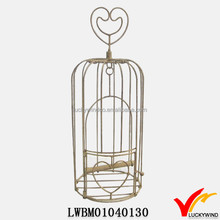 Rustic Beige Heart Handle Metal Small Wire Bird Cages