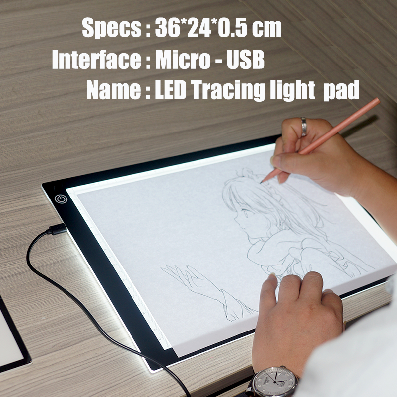 Hot selling competitive price portable bright A4 drawing board led Light Pad scale led tracing board for students