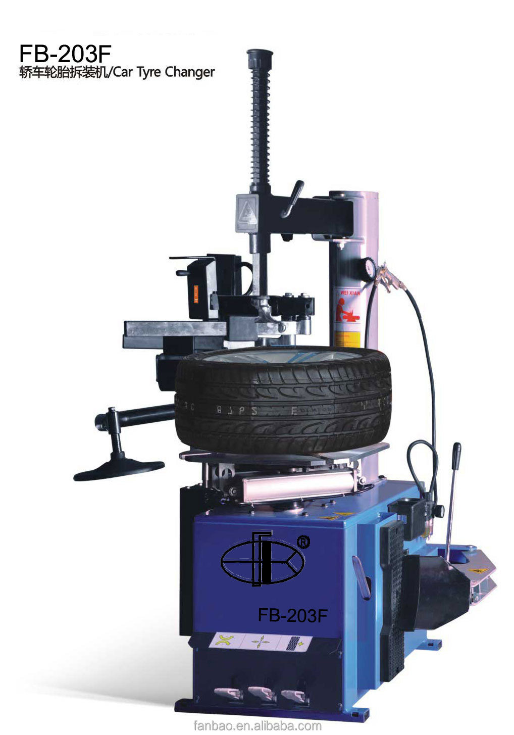 Car Tyre Changer Equipped with left aid arm,two pressing positions and tire support plate to dismount flat and large tire.